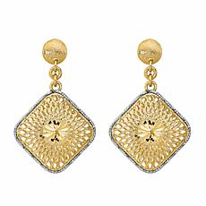 Golden Treasures 14K Diamond-Cut Filigree Square Dangle Earrings