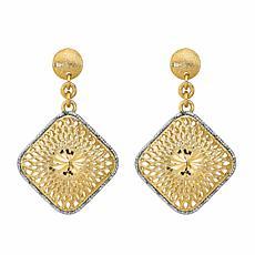 Golden Treasures 14K Diamond-Cut Filigree Square Dangle Earrings