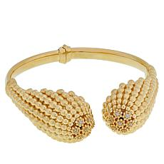 Golden Treasures 14K Italian Gold Caviar Bead CZ Dome Bracelet