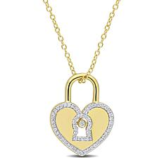 Goldtone Sterling Silver 0.18ctw Diamond Heart Lock Pendant with Chain