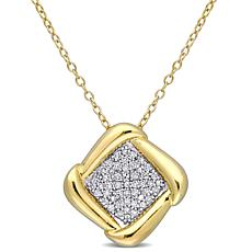 Goldtone Sterling Silver 0.20ctw Diamond Halo Pendant with Chain