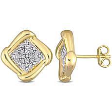 Goldtone Sterling Silver 0.20ctw Diamond Halo Stud Earrings