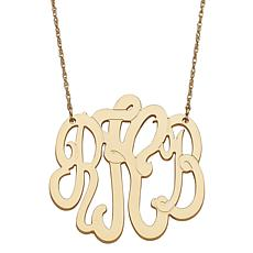 Goldtone Sterling Silver 3-Initial Medium Monogram Necklace
