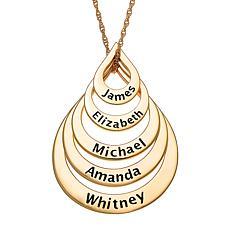 Goldtone Sterling Silver Nesting Teardrop Names Necklace - 5 Names