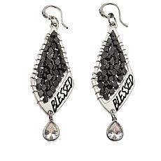"Good Work(s) ""Blessed"" Crystal Drop Earrings"