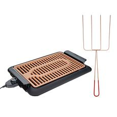 Gotham Steel Deluxe XL Smoke-Less Grill with Quad Kabob Fork