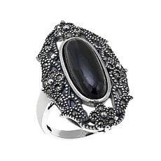 Gray Marcasite and Black Onyx Flower and Leaf Design Ring