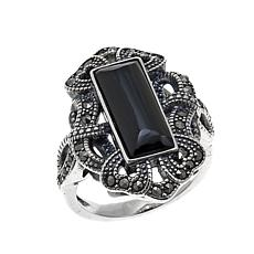 Gray Marcasite and Black Onyx Open Heart and Ribbon-Design Ring