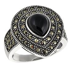 Gray Marcasite and Black Onyx Sterling Silver Pear-Shaped Ring