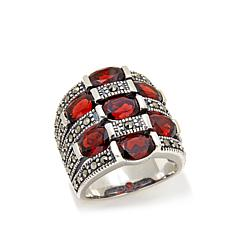 Gray Marcasite and Garnet 4-Row Wide-Band Sterling Ring