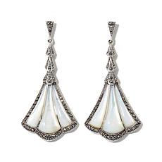 Gray Marcasite and Mother-of-Pearl Fan-Design Earrings