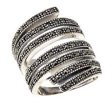 Gray Marcasite Sterling Silver Bold Wrap Ring