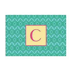 Green Ikat Personalized Doormat