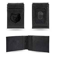 Grizzlies  Laser-Engraved Front Pocket Wallet - Black
