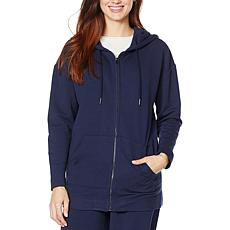 H Halston Studio Brushed Fleece Zip-Front Hoodie