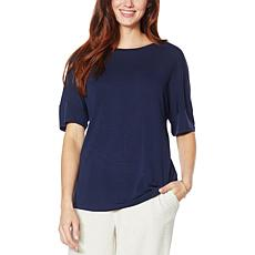 H Halston Studio Jersey Knit Elbow-Sleeve Tee
