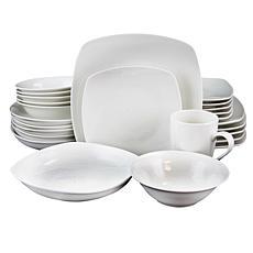 Hagen 30 pc Dinnerware Set - Service for 6 - Square - White - Fine ...
