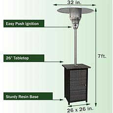 Hanover 41,000 BTU Square Wicker Patio Heater/Stainless