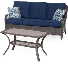Hanover Orleans 2-Piece Gray Patio Set - Navy Blue
