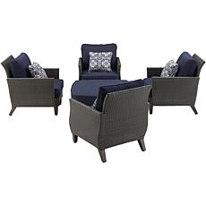 Hanover Savannah 5-Piece Chat Set - Navy Blue