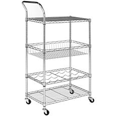 happimess Chelsea 3-Shelf Adjustable Kitchen Cart with Wine Storage