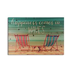 Happiness Comes in Waves 24x36 Print on Wood