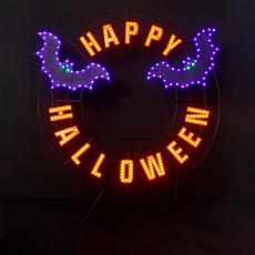 """Harvest Lane 40"""" LED Happy Halloween Wreath with 6-Hour Timer"""