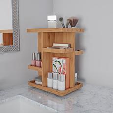 Hastings Home Bamboo Countertop Makeup Organizer Carousel