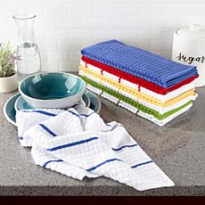 Hastings Home Kitchen Towels, Solids and Stripes Set of 8