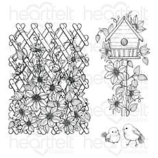 Heartfelt Creations Clematis Birdhouse & Trellis Cling Stamp Set