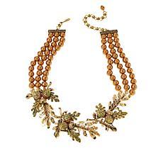 "Heidi Daus ""Autumn Leaves"" Crystal Beaded Three-Row Station Necklace"