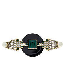 """Heidi Daus """"Avant Garde"""" Crystal and Simulated Pearl Pin"""