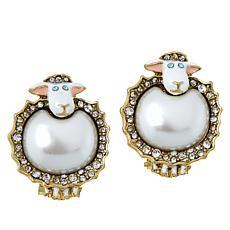 """Heidi Daus """"Baaa-rnabas"""" Simulated Pearl and Crystal Stud Earrings"""