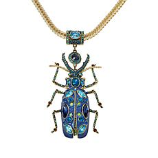 """Heidi Daus """"Big Critter"""" Crystal and Enamel Wheat Chain Drop Necklace"""