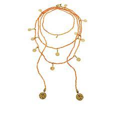 "Heidi Daus ""Boho"" Beaded 2-piece Toggle and Lariat Necklace Set"