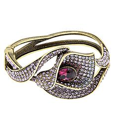 "Heidi Daus ""Calla Lily"" Crystal Hinged Bangle Bracelet"