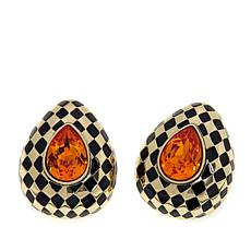 "Heidi Daus ""Check Mate"" Crystal and Enamel Earrings"