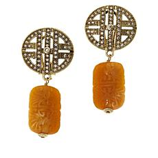 """Heidi Daus """"Chinoise Classic"""" Crystal-Accented Carved Drop Earrings"""