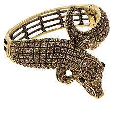 Heidi Daus Crocodile Crystal Hinged Bangle Bracelet