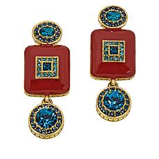 "Heidi Daus ""Deco-Lishish"" Crystal and Enamel Drop Earrings"
