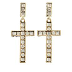"Heidi Daus ""Delicate Divinity"" Cross Drop Earrings"