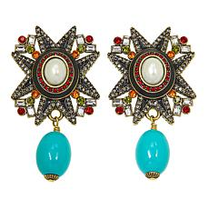 "Heidi Daus ""Elegant Emblem"" Crystal and Enamel Drop Earrings"