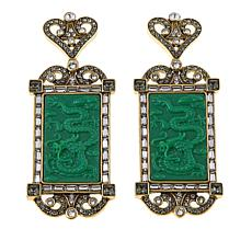 "Heidi Daus ""Exotique Chinoiserie"" Carved Crystal Drop Earrings"