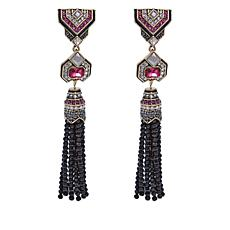 "Heidi Daus ""Exquisite Equine"" Beaded Tassel Drop Earrings"