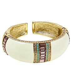 "Heidi Daus ""French Chic"" Crystal and Enamel Bangle Bracelet"