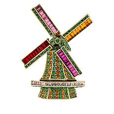 "Heidi Daus ""Going Dutch"" Crystal Windmill Pin"