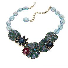 "Heidi Daus ""Leaping Lily Pads"" Beaded Crystal Drop Necklace"