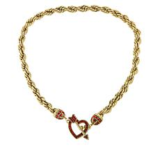 "Heidi Daus ""Love Heidi Style"" Crystal Heart Toggle Drop Chain Necklace"
