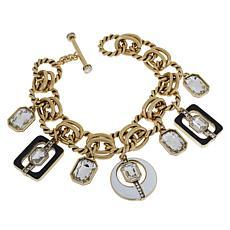 "Heidi Daus ""Mod Revival"" Enamel Charm Toggle Bracelet"