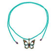 "Heidi Daus ""Monarch Magic"" Butterfly Enhancer Pendant Beaded Necklace"